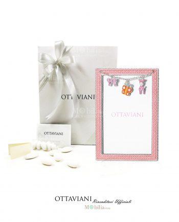 Bomboniera Battesimo con Portafoto Grande Rosa Ottaviani
