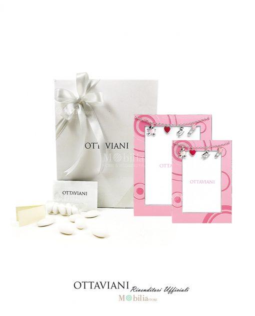 bomboniera cornice rosa con catenina di charms smaltati ottaviani