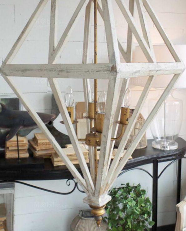 Lampadari Moderni Legno decapato Bianco e Oro
