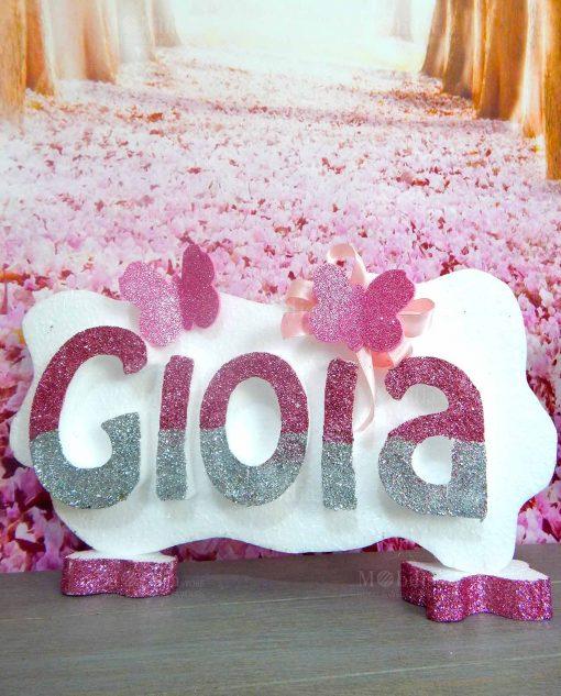 allestimento cerimonie online dscritta polistirolo con glitter rosa personalizzabile