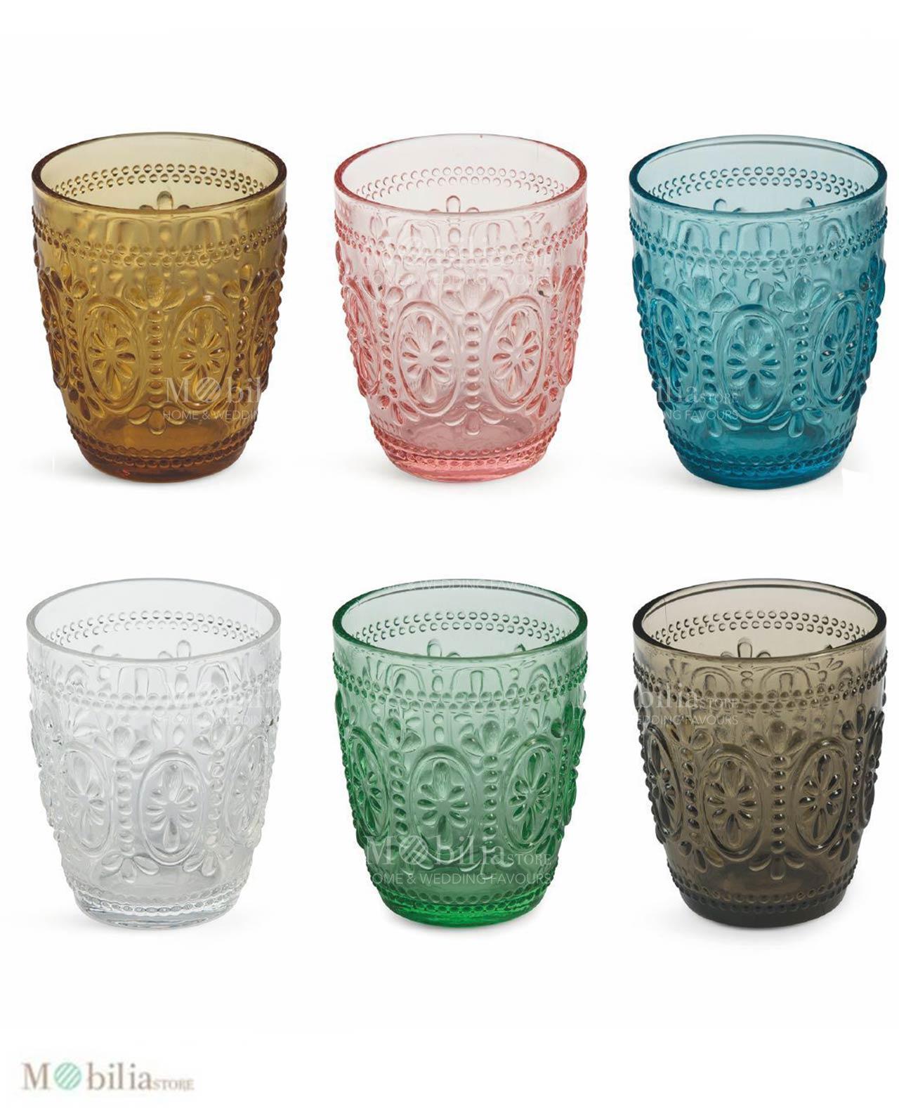 set 6 bicchieri vetro colorati villa d 39 este