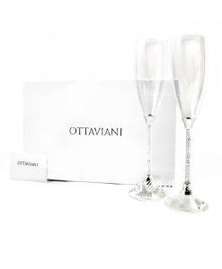 Coppia Flutes con cristalli Ottaviani