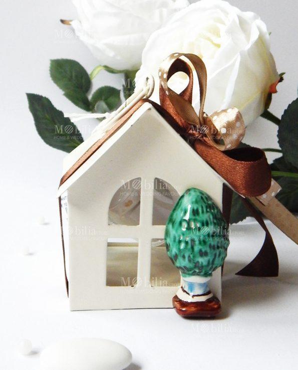 Bomboniere Lanterna Casetta con Pigna Ceramica