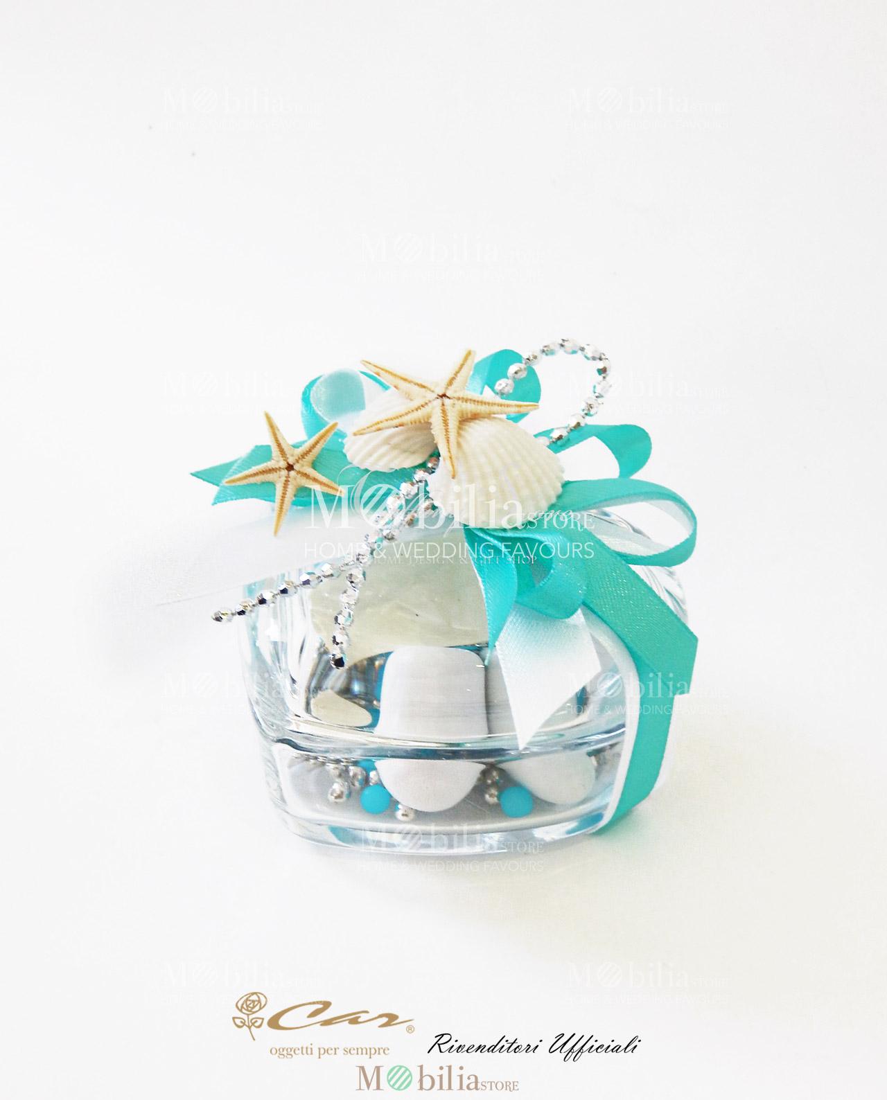 Matrimonio Tema Cuore : Bomboniere tema mare scatolina portaconfetti cuore set