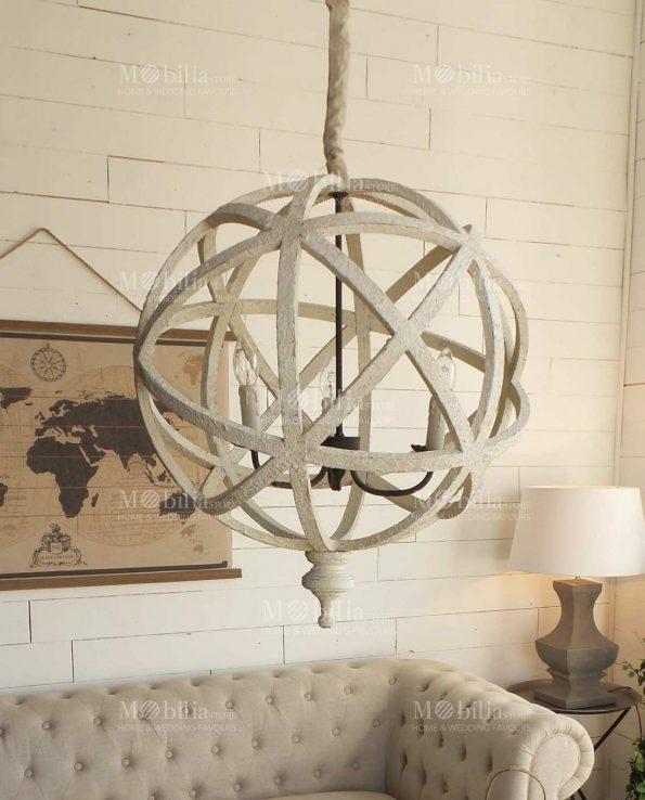 Lampadario sferico legno design moderno