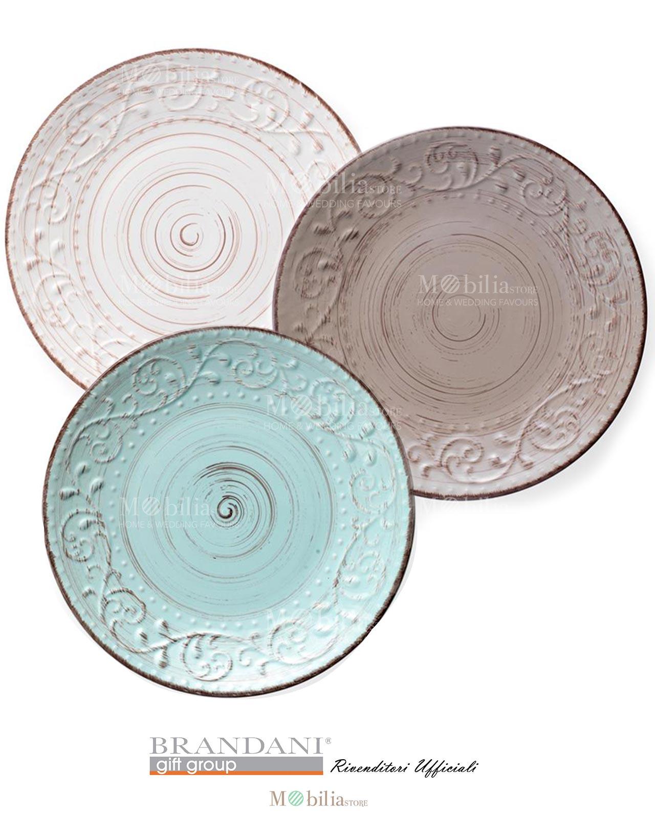 Piatti Stile Shabby Chic.Piatto Piano 3 Colori Brandani Stoneware Collezione Serendipity