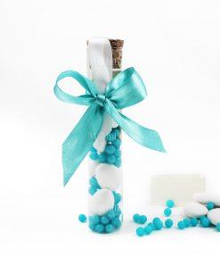 provetta doppio ficco azzurro e bianco con perline