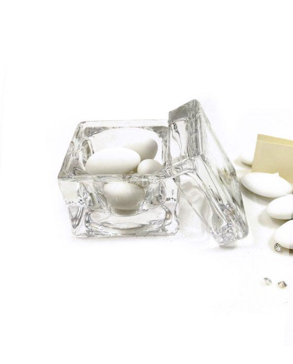 Scatole con coperchio vetro per bomboniere