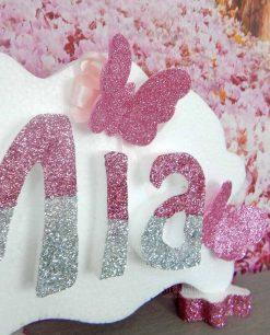 scritta in polistirolo personalizzata con farfalle glitter