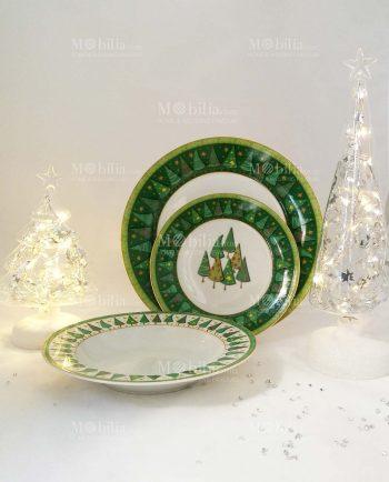 Servizio Piatti Natalizio in ceramica Fade