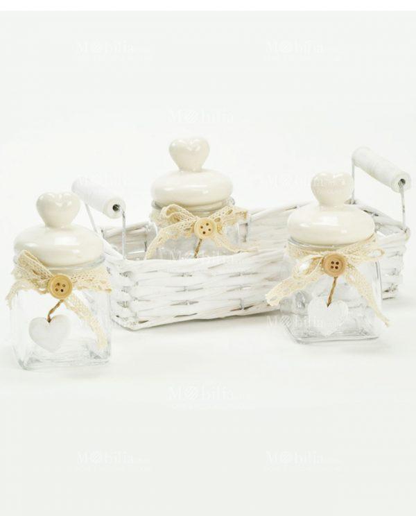 Set 3 Barattoli Vetro con Tappo Ceramica Cuore e Cestino Vimini