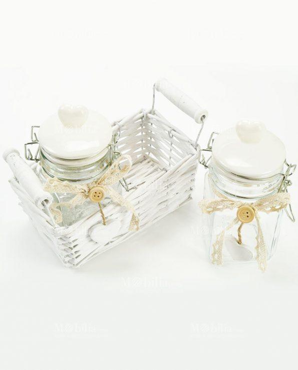Set 2 Barattoli Vetro con Tappo Ceramica Cuore e Cestino Vinimi