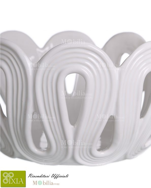 Centrotavola bianco ceramica Ixia