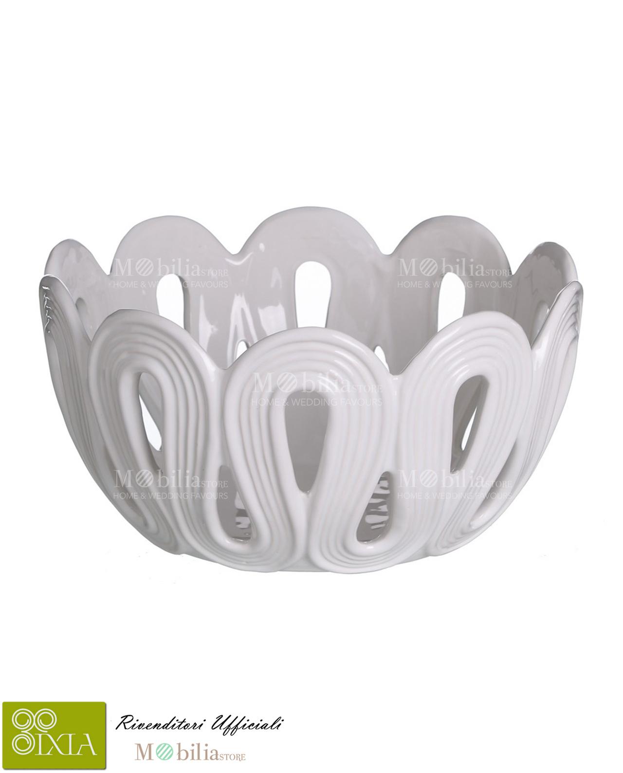 Centrotavola bianco in ceramica ixia mobilia store home for Mobilia recensioni