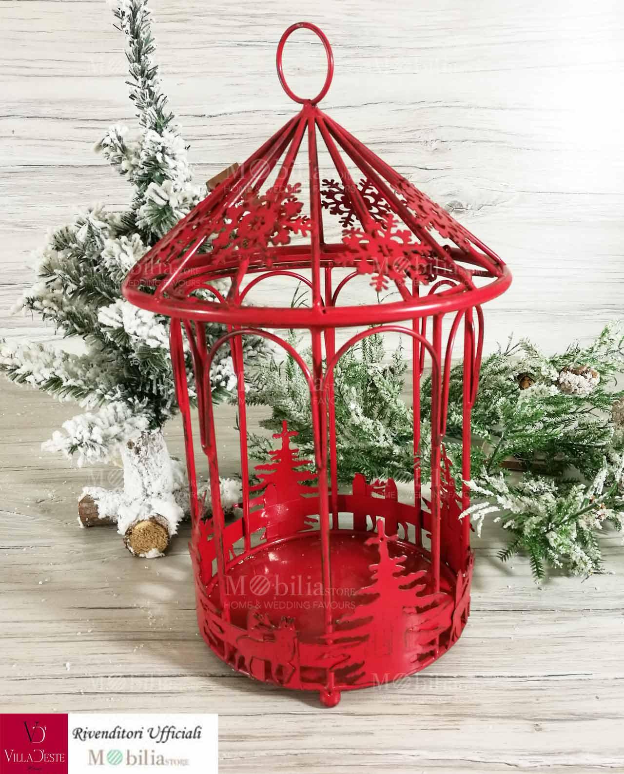 Lanterna Natalizia Rossa Mobilia Store Home Favours