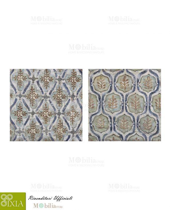 Composizione due Quadri su tela con foglie Ixia