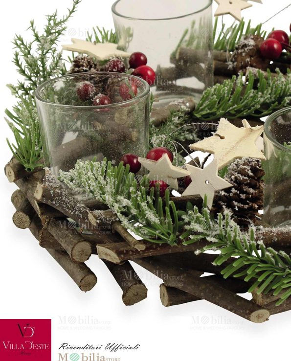 Portacandele Natale con Addobbi Villa d'Este