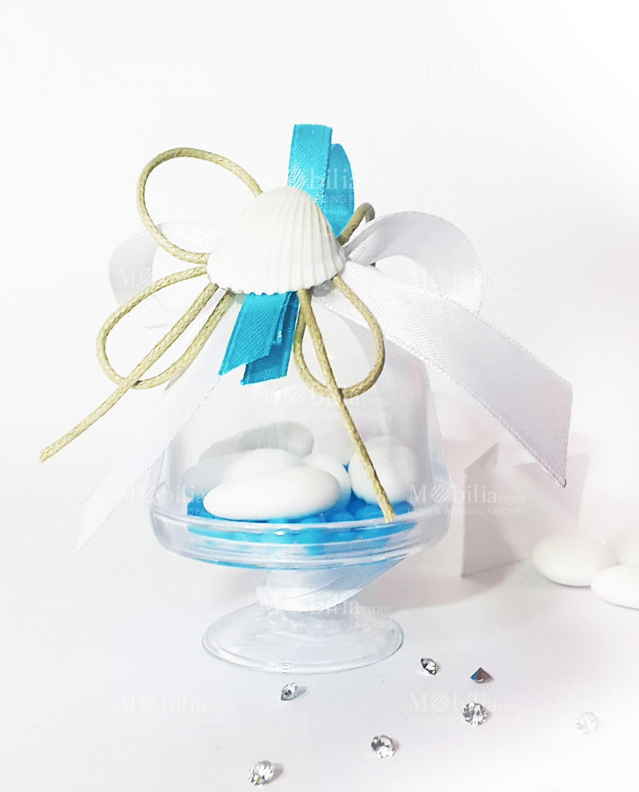 Bomboniera Matrimonio Azzurro : Alzatine trasparenti confezionate nastro azzurro e conchiglia set 6