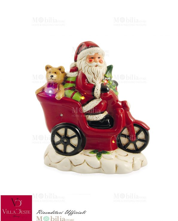 Decorazione Babbo Natale moto Led Villa d'Este