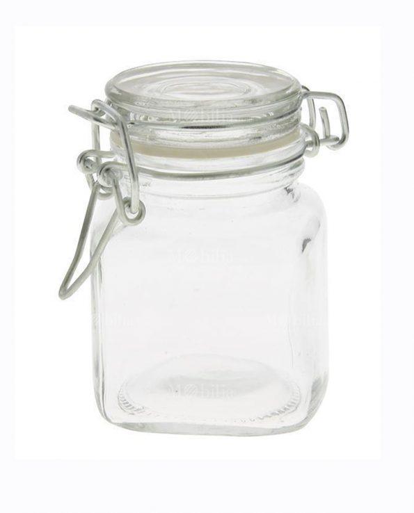 Barattolino vetro base quadrata chiusura ermetica per confetti set 12 pezzi mobilia store home - Barattoli vetro ikea ...