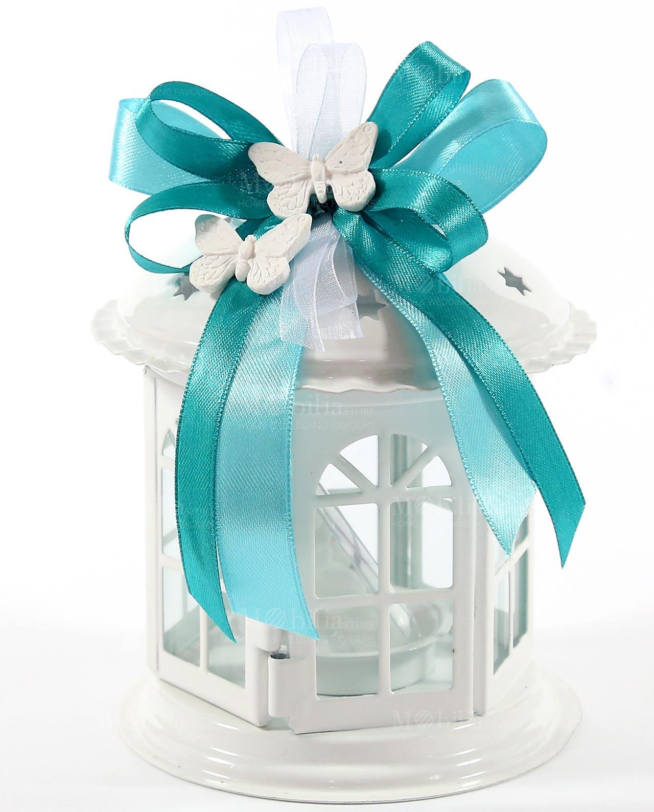 bomboniera lanterna pagoda nastro tiffany e gessetto