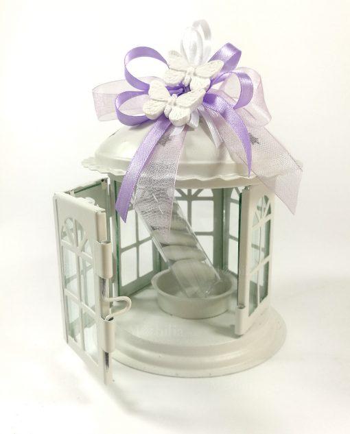 bomboniere lanterna in metallo e vetro confezionata