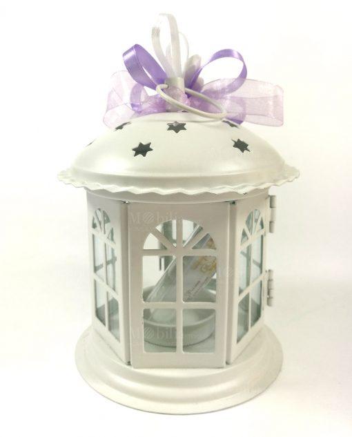 bomboniere lanterna pagoda con nastri viola e farfalle gesso