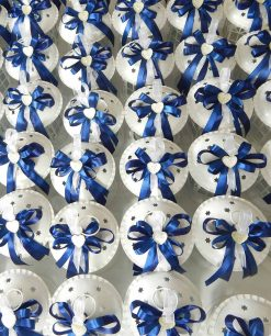 bomboniere lanterne con cuore strass e fiocchi blu