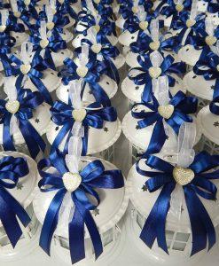 bomboniere lanterne pagoda con nastri blu e cuore strass