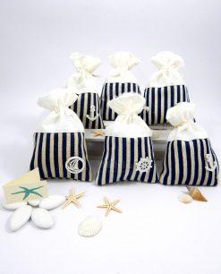 bomboniere sacchettini tema mare in cotone a righe