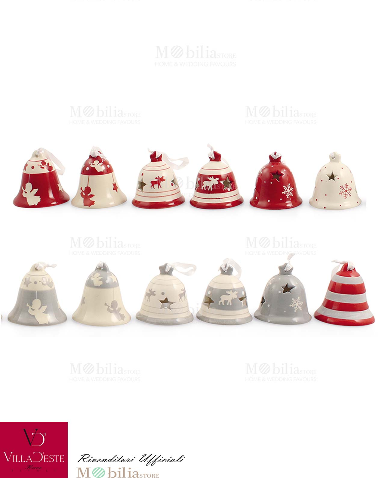 Campanelle Natalizie In Ceramica Varie Decorazioni