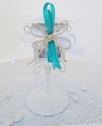Bomboniere Battesimo Maschio Lanterna Lampione con Fiocco Tiffany-Bomboniere Matrimonio Lanterne Lampione con Fiocco Tiffany