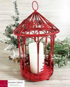 lanterna rossa natalizia con candela min