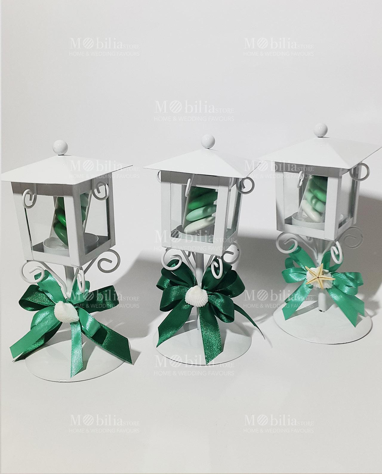 Bomboniera Lanterna Lampione Con Conchiglia E Fiocco Verde