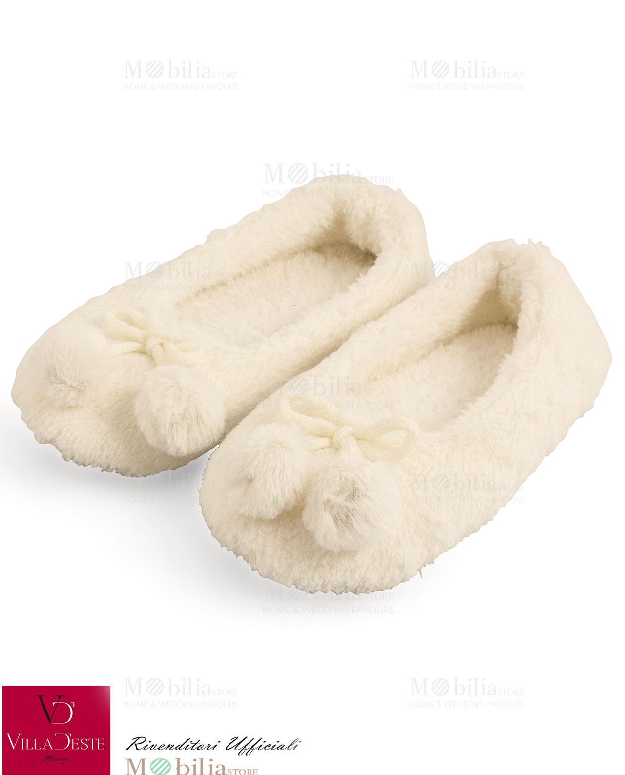 Pantofole ballerina bianche mobilia store home favours for Mobilia recensioni