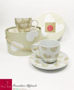 set tazze cappuccino ceramica con scatola villa deste