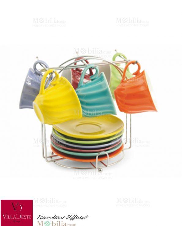 Tazzine da Caffè Ceramica Colorata Twister Villa d'Este
