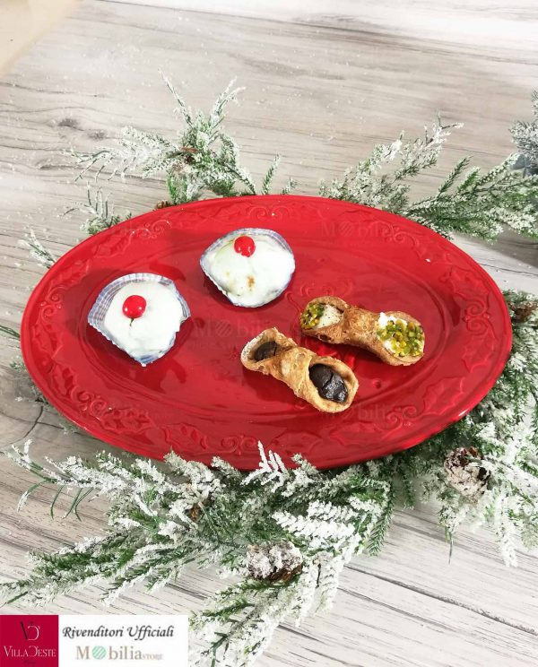 Vassoio Natale Rosso Villa d'Este