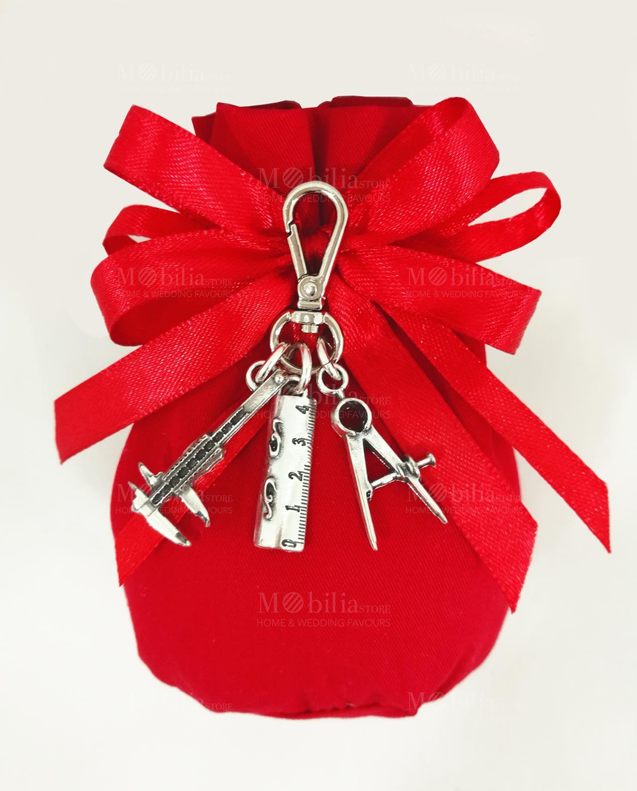 portachiavi con compasso e righello argento tabor su sacchetto rosso 4de8042d0e67