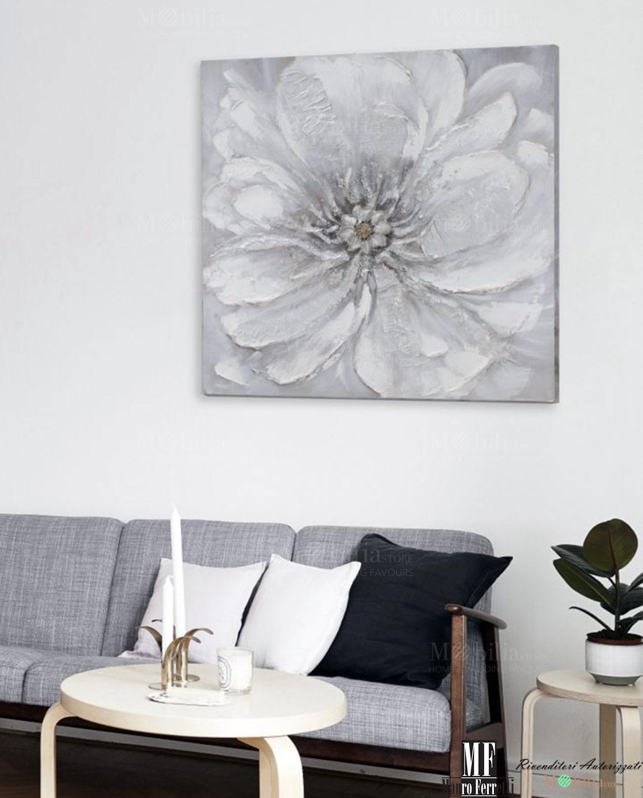 Tela con fiori grigi dipinta a mano mobilia store home for Amazon quadri