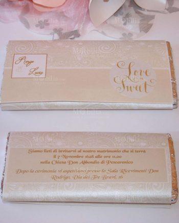 Invito Beige Per Tavoletta Di Cioccolato