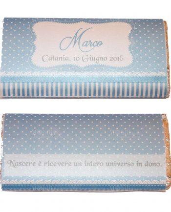 Invito Azzurro Con Pois Per Tavoletta Cioccolato