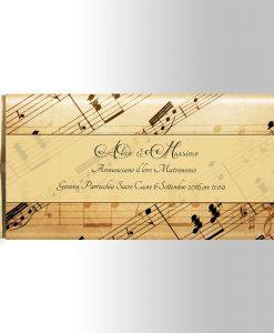 invito partecipazione matrimonio tema musica per tavoletta di cioccolato