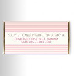 invito su tavoletta di cioccolato battesimo nascita bimba