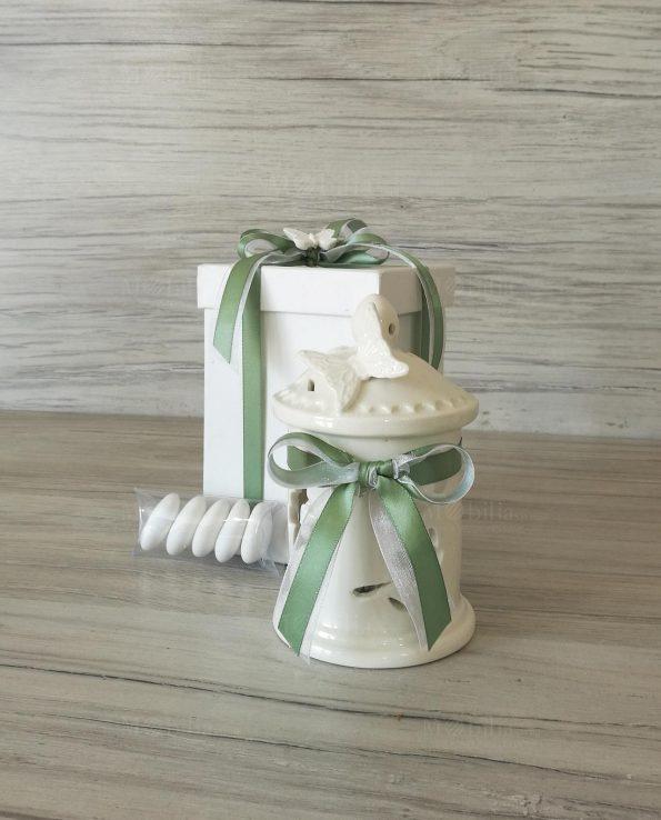 Bomboniere Matrimonio Lanterna Led con Fiocco Verde