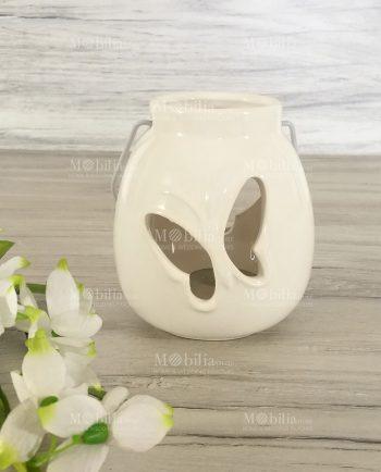 Lanterna Ceramica Bianca Farfalla-Lanterne Portacandele Ceramica Bianca con Farfalle