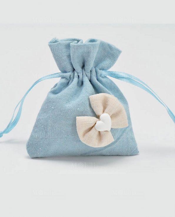 Sacchetti Portaconfetti Azzurri Juta con Fiocco