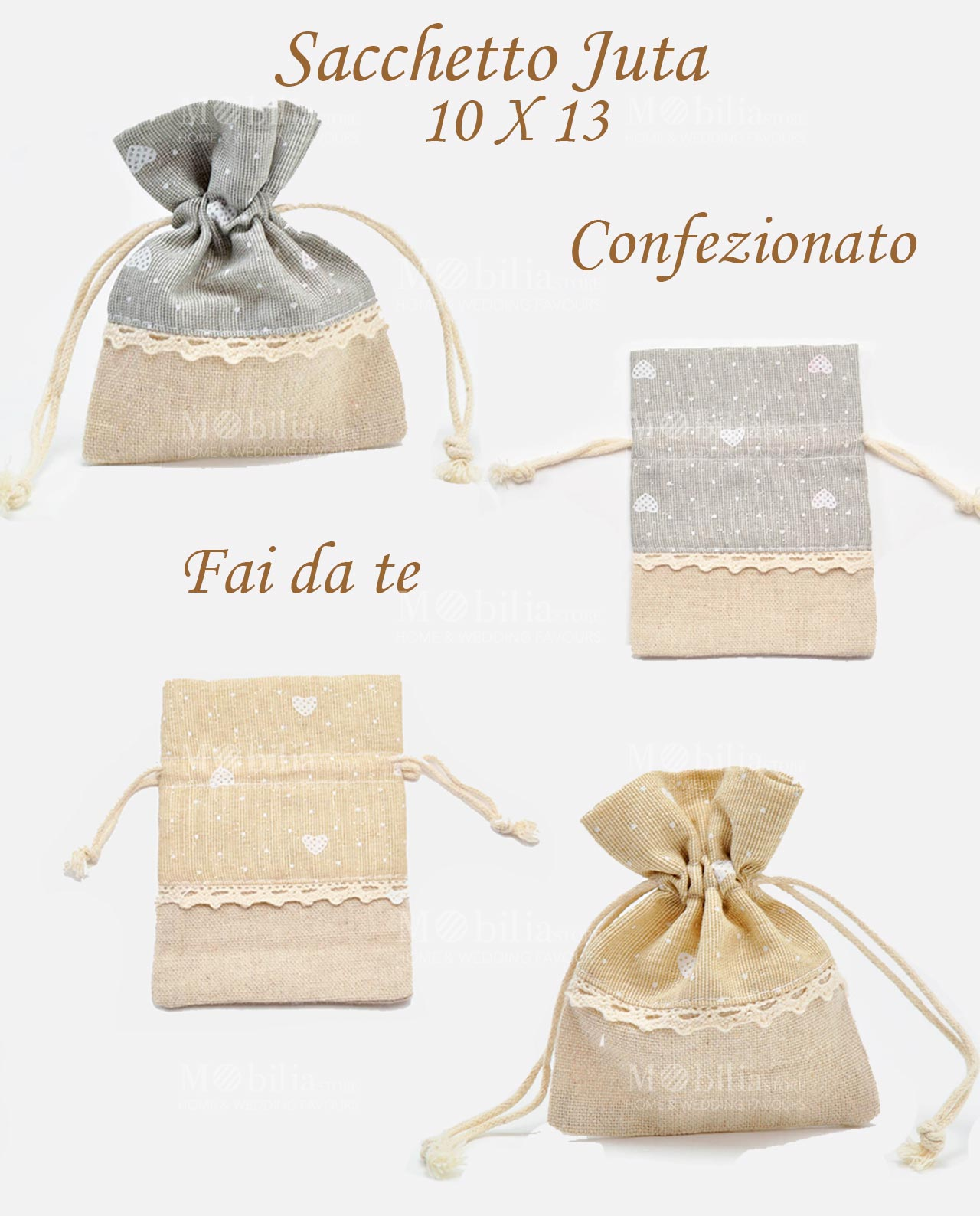 Ben noto Sacchetti Portaconfetti Juta Beige Grandi IM15