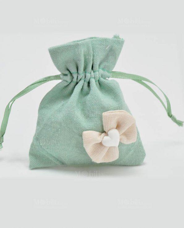 Sacchetti Portaconfetti Verdi Juta con Fiocco