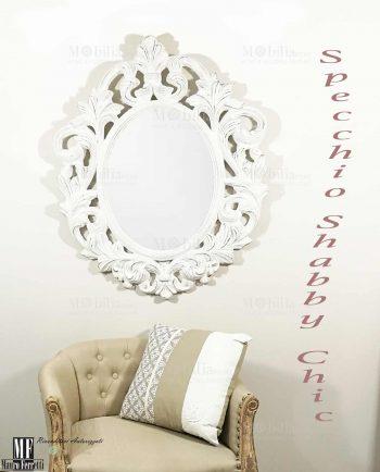 Tela con fiori grigi dipinta a mano mobilia store home - Specchio ovale shabby chic ...